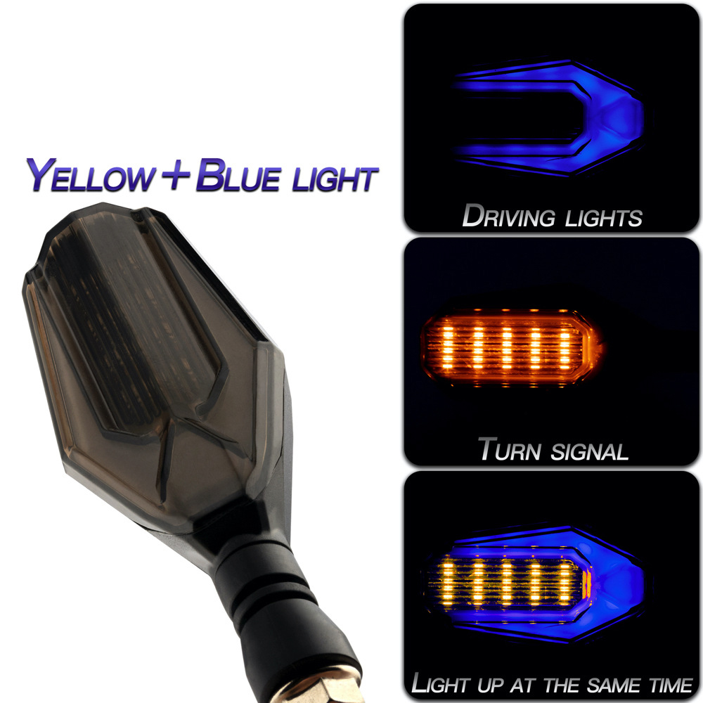 1 Pair Motorcycle Light Dual Color Light Led Daytime Running Light Turn Signal Light Yellow + blue