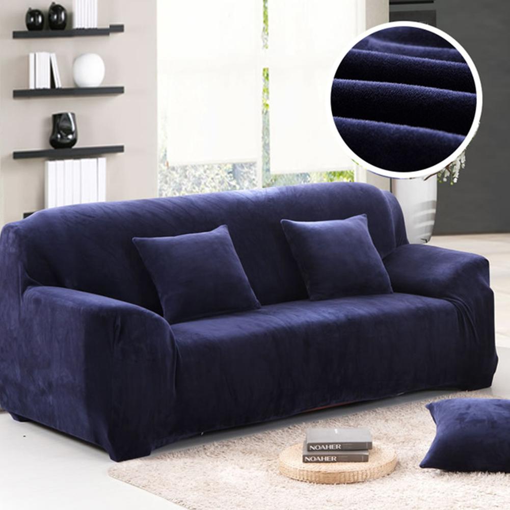 Non-slip Thicken Plush Elastic All-inclusive Sofa Protector for Autumn Winter navy_Single seat 90-140