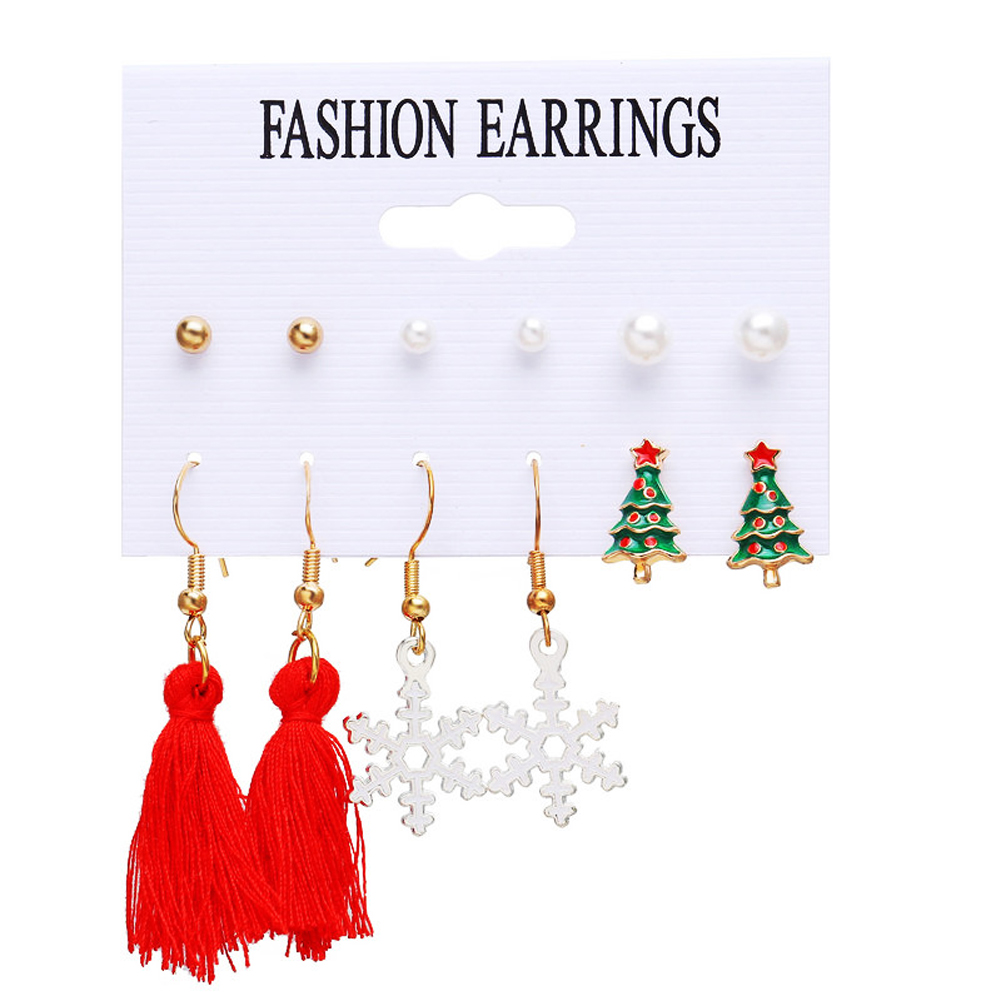 6 Pair of  Christmas Earrings   Set  Pearl  Tassel  Snowflake  Earrings Golden