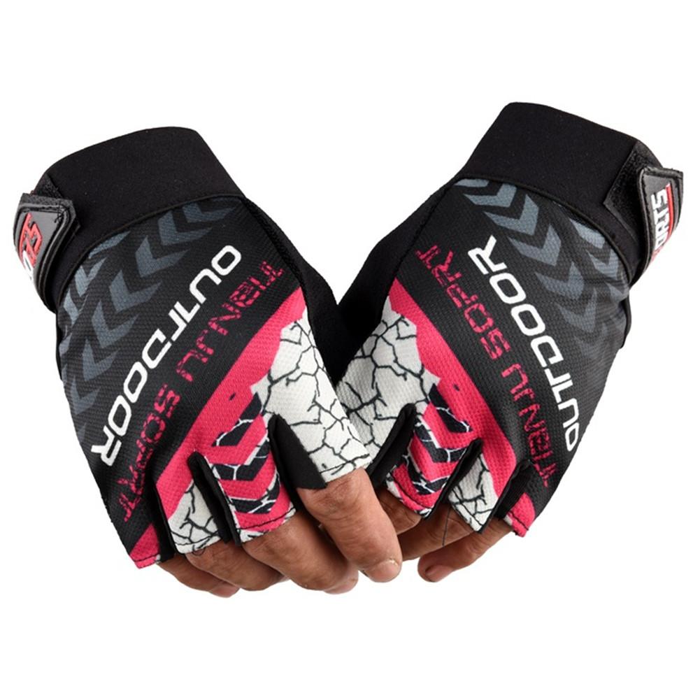 1 Pair Nylon Half  Finger  Gloves For Men Women Mountain Bike Fishing Fitness Yoga Non-slip Gloves rose red