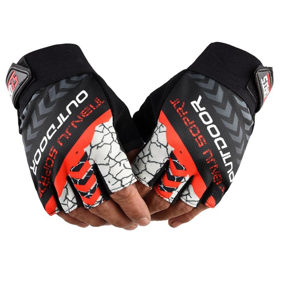 1 Pair Nylon Half  Finger  Gloves For Men Women Mountain Bike Fishing Fitness Yoga Non-slip Gloves orange red
