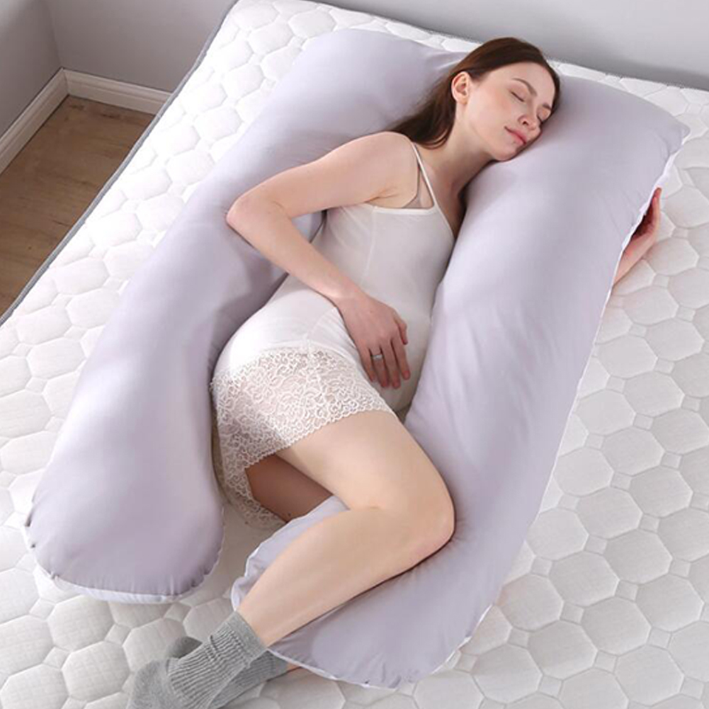 Multifunctional Pillow for Pregnant Women Lateral Pillow Pregnancy Side Sleepers 100% Cotton U Shape Removable and Washable Maternity Pillows gray and white