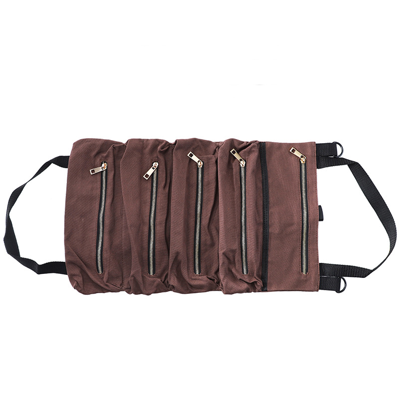 Car Tool Roll Up Bags Waxed Canvas Storage Pouch Tools Tote Sling Holder Back Seat Organizer Brown