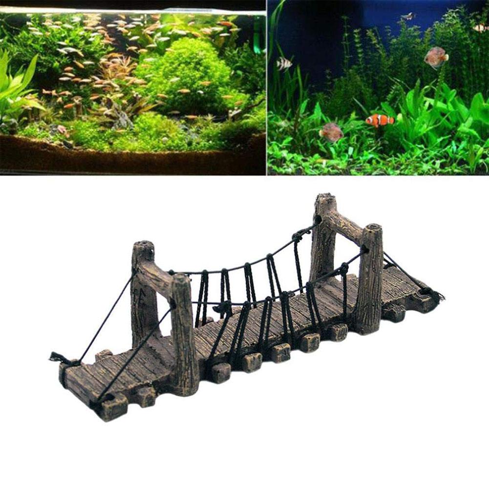 Fish Tank Landscaping Decoration Bridge Aquarium Fish Shrimp Turtle Rest Platform Rope Bridge large