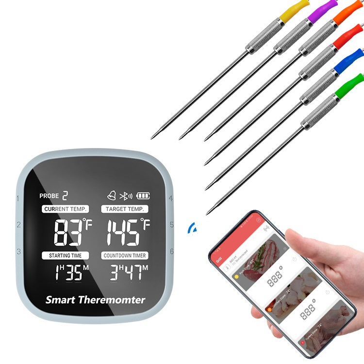 Wireless Bbq Thermometer 6 Probes Digital Cooking Thermometer Smart App Control For Grilling Smoker Kitchen Food Temperature measurement range -50-300C