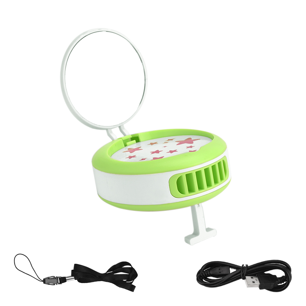 Green Mini Portable Eyelash Extension Glue Quick Dry Air Conditioning Fan with Mirror green