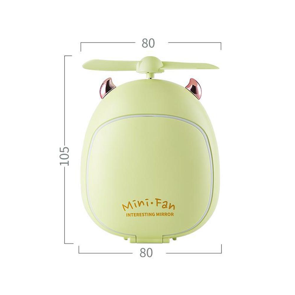 Cartoon Bear Beauty Makeup Mirror Lamp Fan Handheld Portable USB Rechargeable Small Fan Little two magic green_10.5 * 3.5 * 8cm
