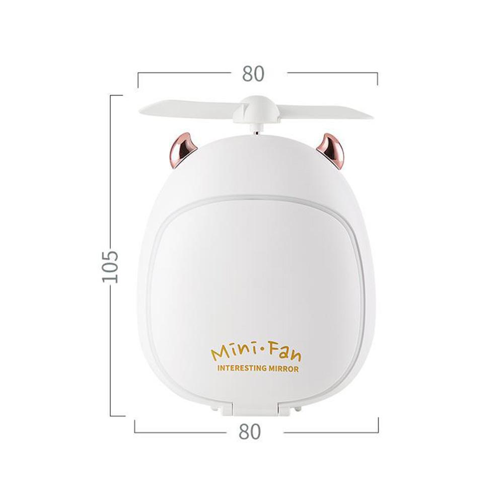 Cartoon Bear Beauty Makeup Mirror Lamp Fan Handheld Portable USB Rechargeable Small Fan Little two magic white_10.5 * 3.5 * 8cm