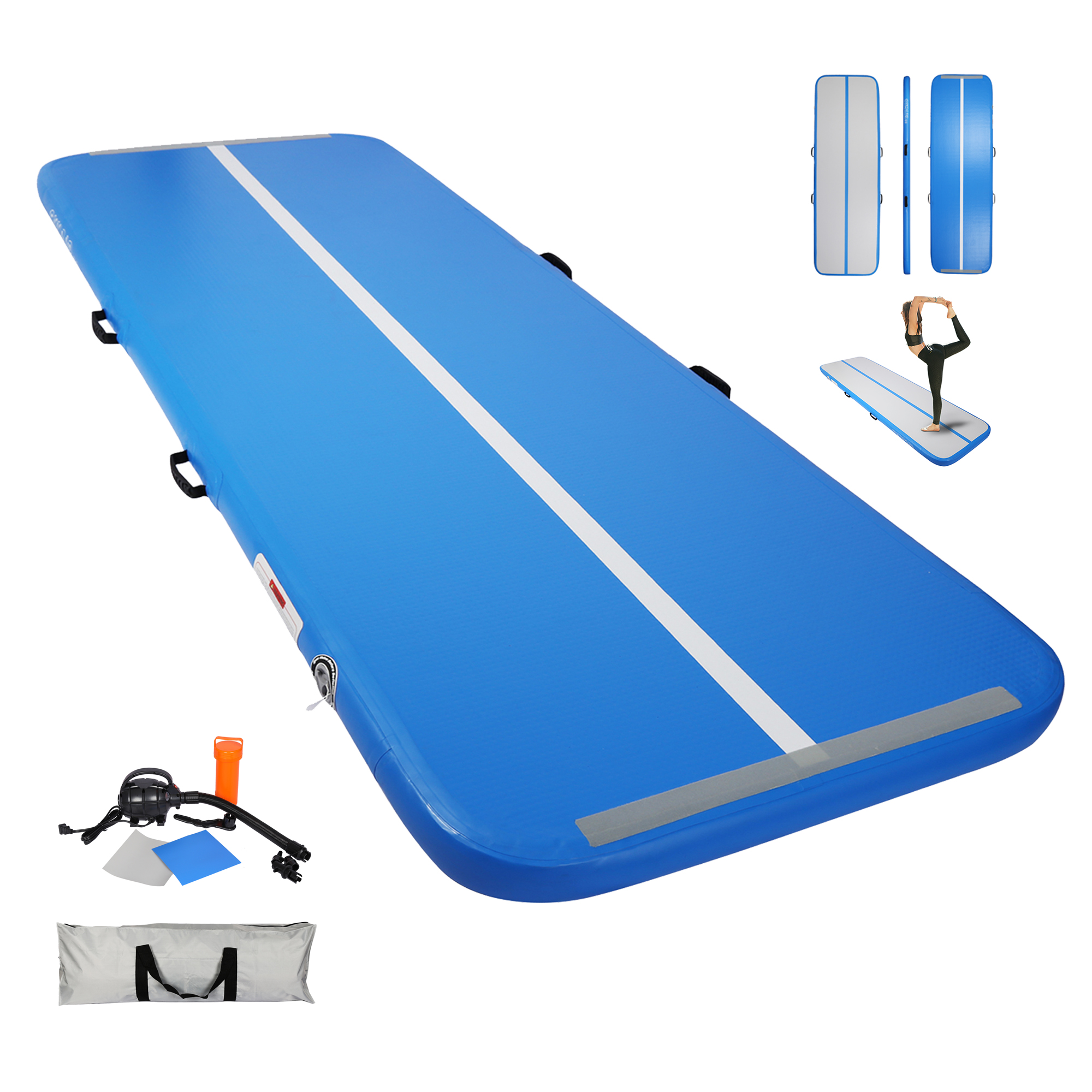 [US Direct] 10ft Inflatable Gymnastics  Tumbling Mat 4 inches Thickness Mats for Home Use/Training/Cheerleading/Yoga/Water with electircal Pump