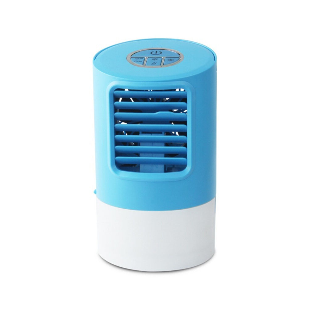 Desktop Snowman Spray Refrigeration Humidification Round Air Conditioner Fan Mini Fan for Office  Blue_13*23cm