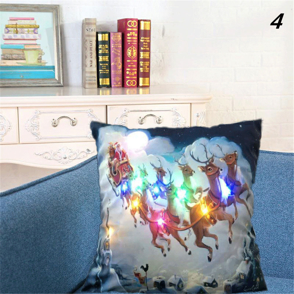 Colorful Christmas Cushion Cover with LED Lights Pillowcase for Sofa Living Room Seat Supplies(without Pillow Inner)