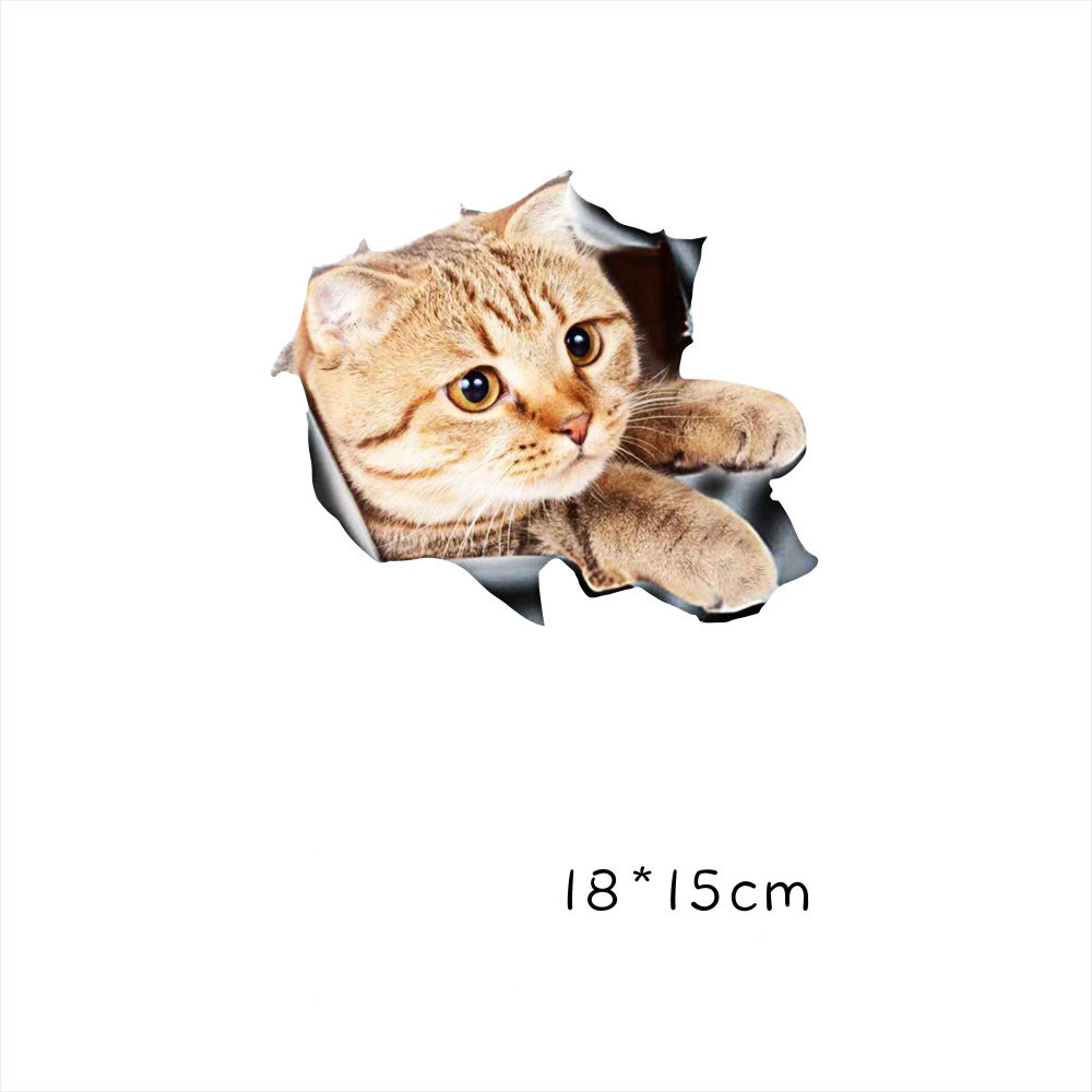 Funny Car  Sticker Body Dog Cat Puppy Scratch Paint Subsidies Cartoon Simulation Door Body Decal Orange Cat No. 3 18*15cm