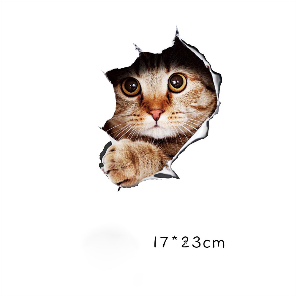 Funny Car  Sticker Body Dog Cat Puppy Scratch Paint Subsidies Cartoon Simulation Door Body Decal Orange Cat No. 4 17*23cm