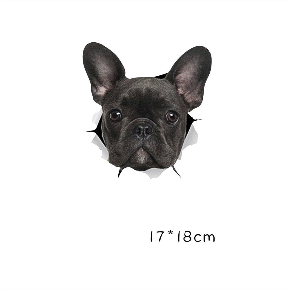 Funny Car  Sticker Body Dog Cat Puppy Scratch Paint Subsidies Cartoon Simulation Door Body Decal Black dog 17*18cm