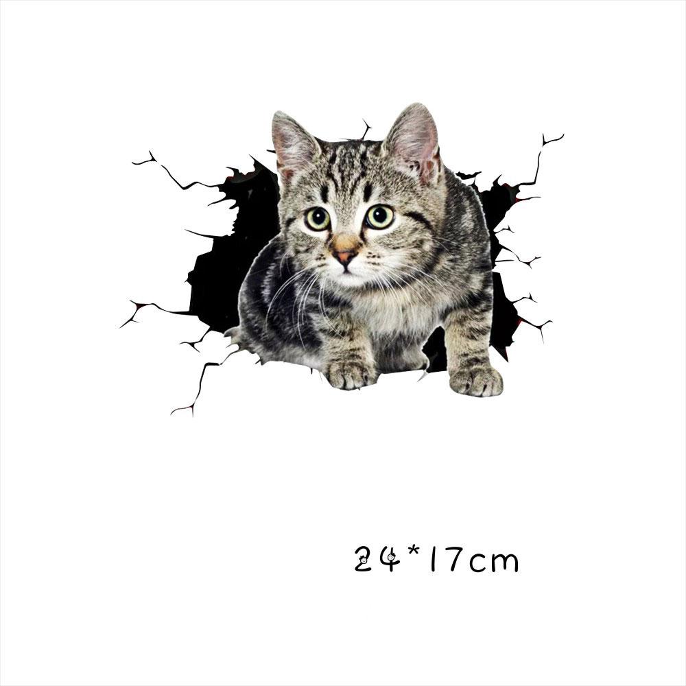 Funny Car  Sticker Body Dog Cat Puppy Scratch Paint Subsidies Cartoon Simulation Door Body Decal Gray cat 24*17cm