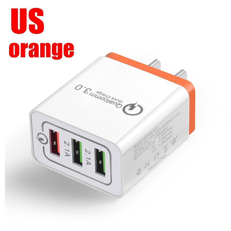 30W QC 3.0 Fast Quick Charger 3 Port USB Hub Wall Charger Adapter Orange_U.S. regulations
