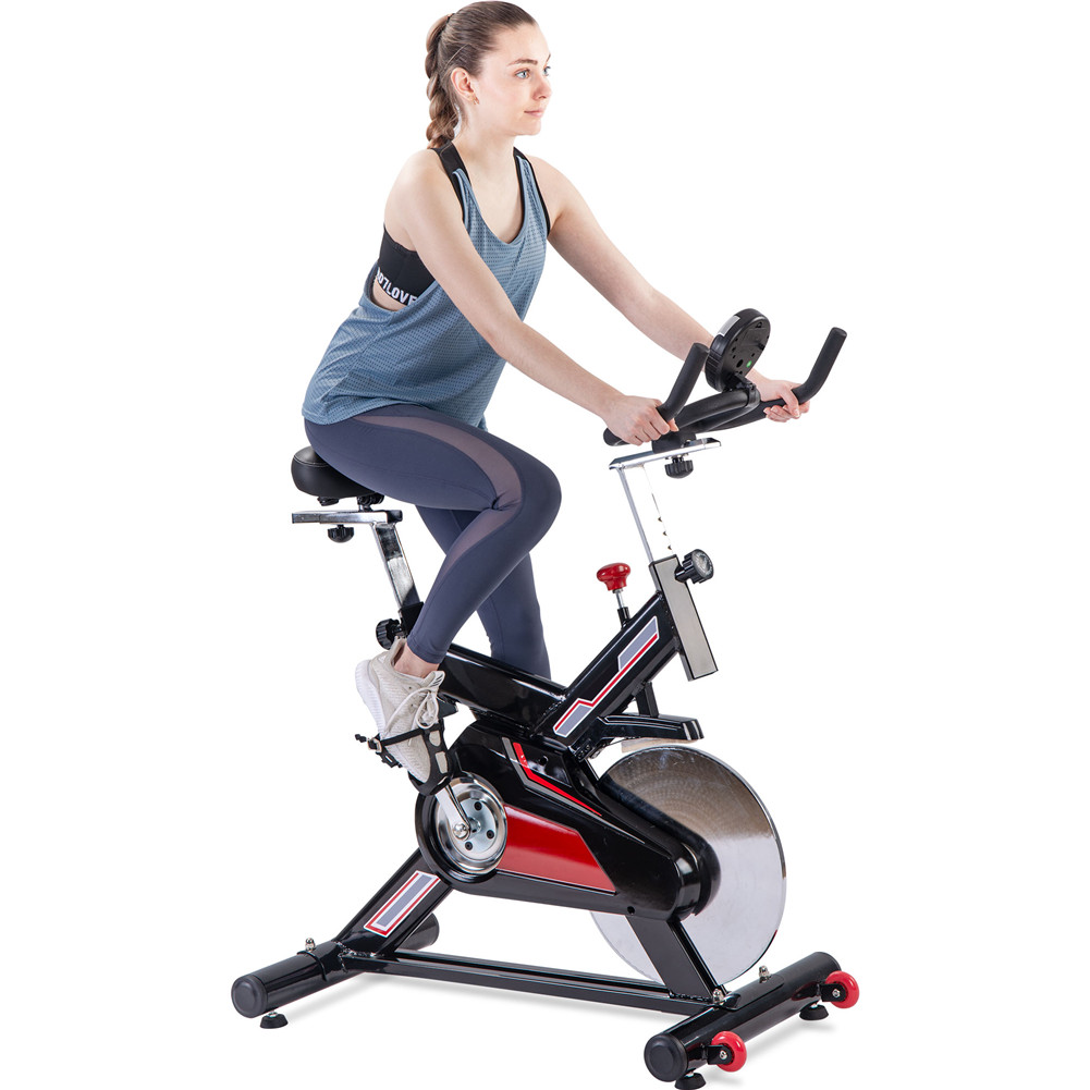 [US Direct] Indoor  Exercise  Bike Stationary  Bicycle With Lcd Display For Home Fitness Black red