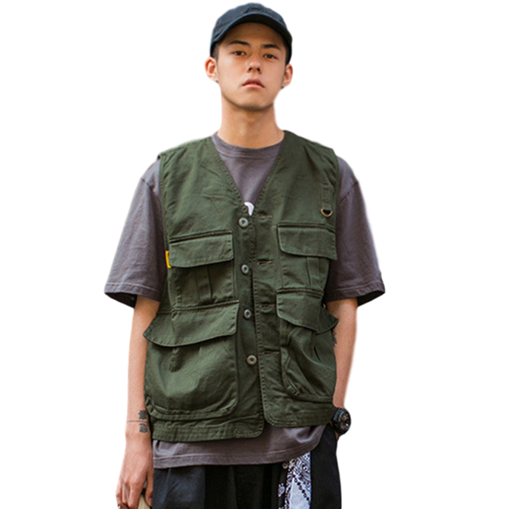 Men's Vest Summer Multi-pocket Loose All-match Sleeveless Vest green_L