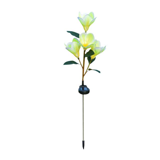 Solar Powered Light Magnolia Flower Shape 4 LEDS Garden Lighting Outdoor Landscape Light yellow color white light