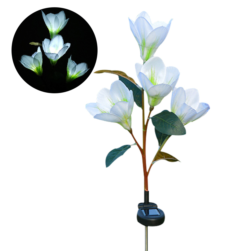 Solar Powered Light Magnolia Flower Shape 4 LEDS Garden Lighting Outdoor Landscape Light white color white light
