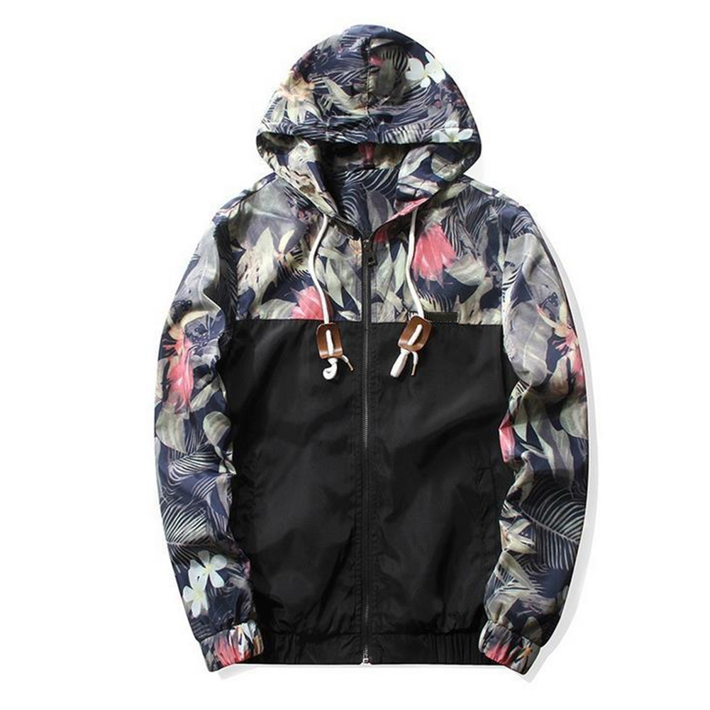 Men Simple Casual Loose Hooded Jacket Camouflage Print Stitching Coat Tops  black_XL