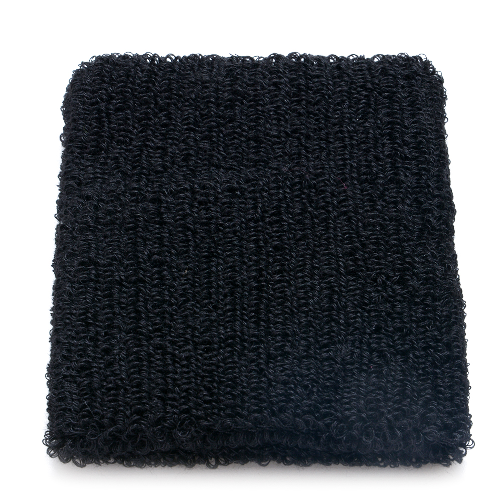 Cotton Sweatband Moisture Wicking Athletic Terry Cloth Wristband for Tennis, Basketball, Running, Gym, Working Out Black 8 * 10CM