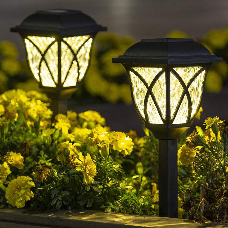 2Pcs LED Solar Lawn Light Garden Pathway Outdoor Landscape Lighting Warm light