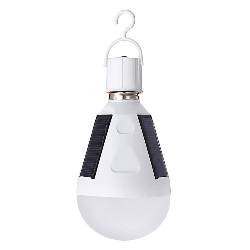 Indoor Garden Hiking Camping Solar Panel Powered LED Light Bulb Hanging Solar Light Portable Waterproof Emergency Light Bulb with Hook