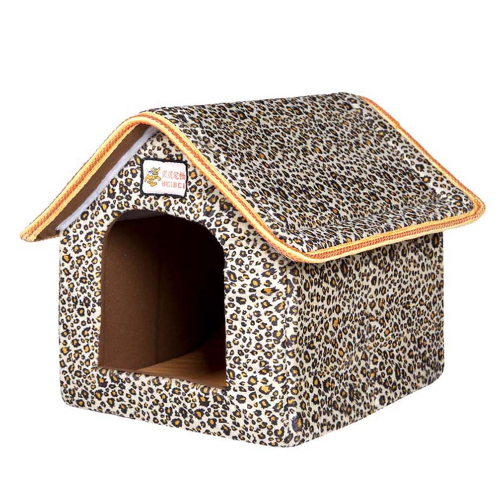 Foldable House Shape Pet Nest with Mat for Small Dog Teddy Poodle Puppy Cats Leopard_L