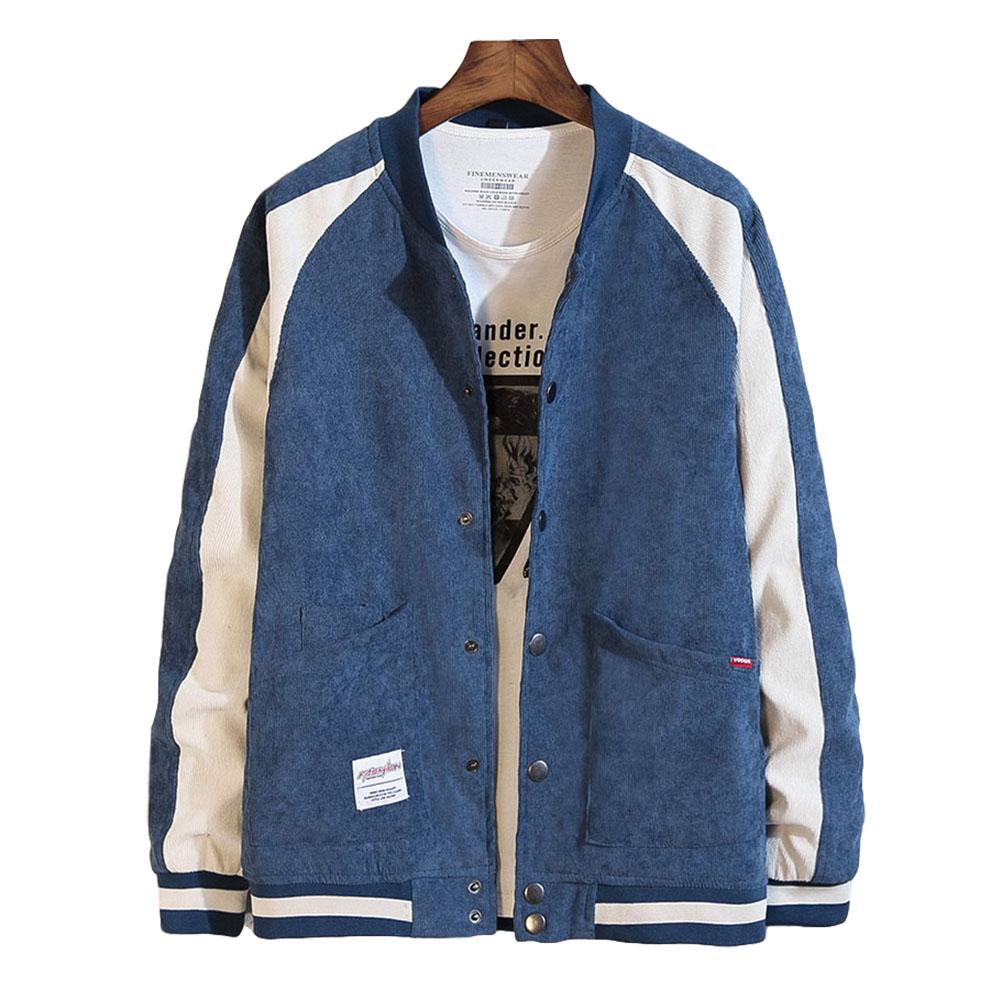 Men's Jacket Autumn Plus Size Corduroy Stand Collar Baseball Uniform Blue _XL