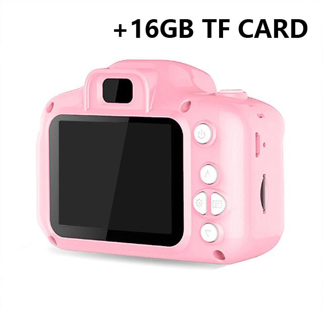 Hd  Digital Camera 2  Inch Cartoon Mini Camera with 16G memory  Card Children  Birthday  Gift Pink