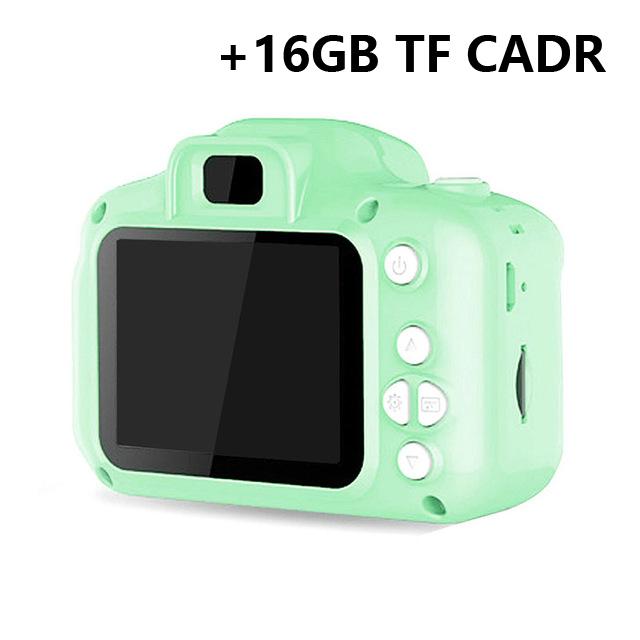 Hd  Digital Camera 2  Inch Cartoon Mini Camera with 16G memory  Card Children  Birthday  Gift green