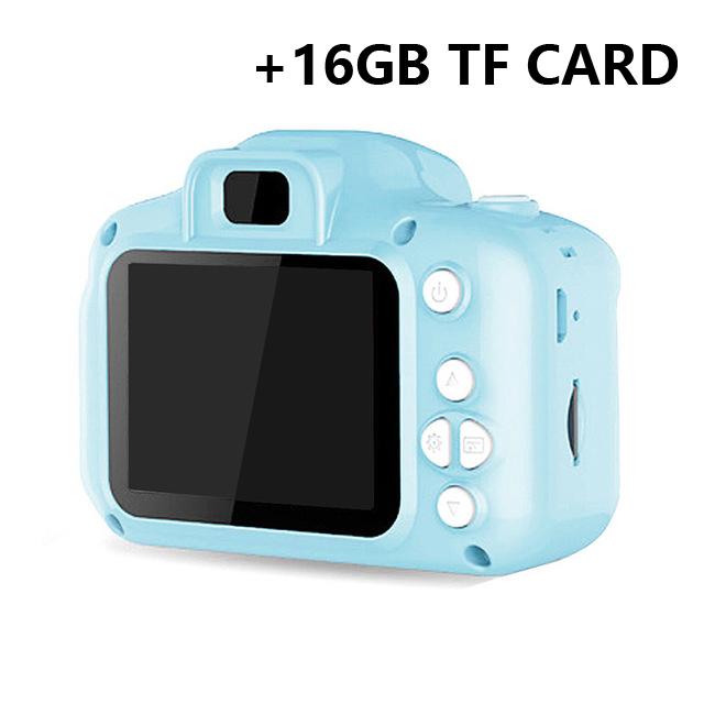 Hd  Digital Camera 2  Inch Cartoon Mini Camera with 16G memory  Card Children  Birthday  Gift blue