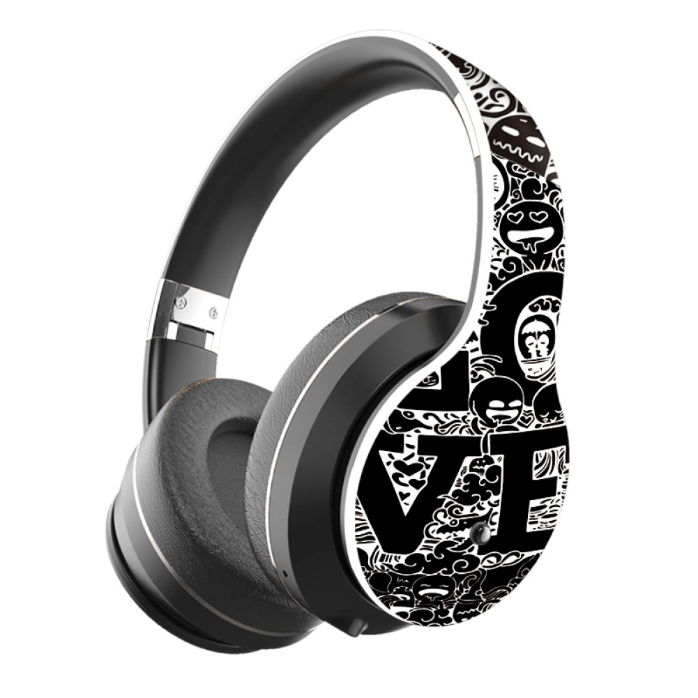 BT Headset Graffiti Pattern Head-mounted Wireless Bluetooth Headphone Universal for PC and Phone Plug-in Card Foldable Black and white