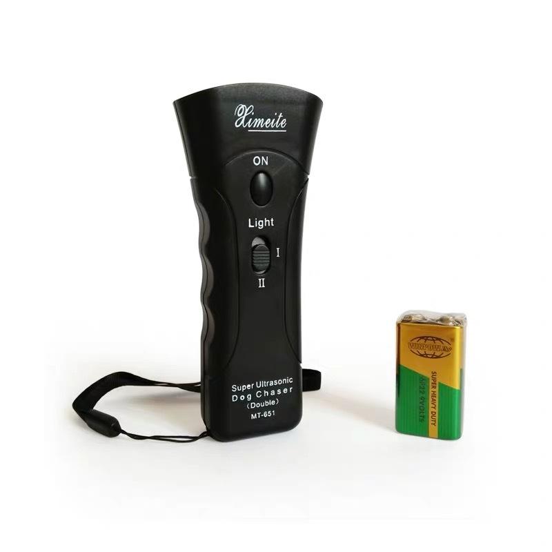 Ultrasonic Double-headed Dog Repeller Anti Barking Device Dog Training Repeller black (built-in battery)