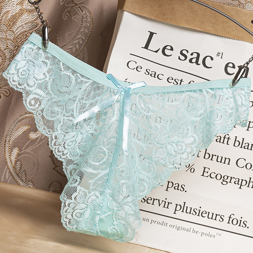 Women G-string Lace Briefs See-through Low Waist Sexy Underwear Cotton Crotch Erotic Panties Sky blue_One size