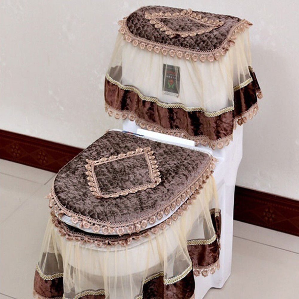 3 PCS Flannel Cashmere Lace Printed Home Decoration Water Tank Cover+Toilet Cover Seat+Toilet Seat Coffee_Three-piece suit
