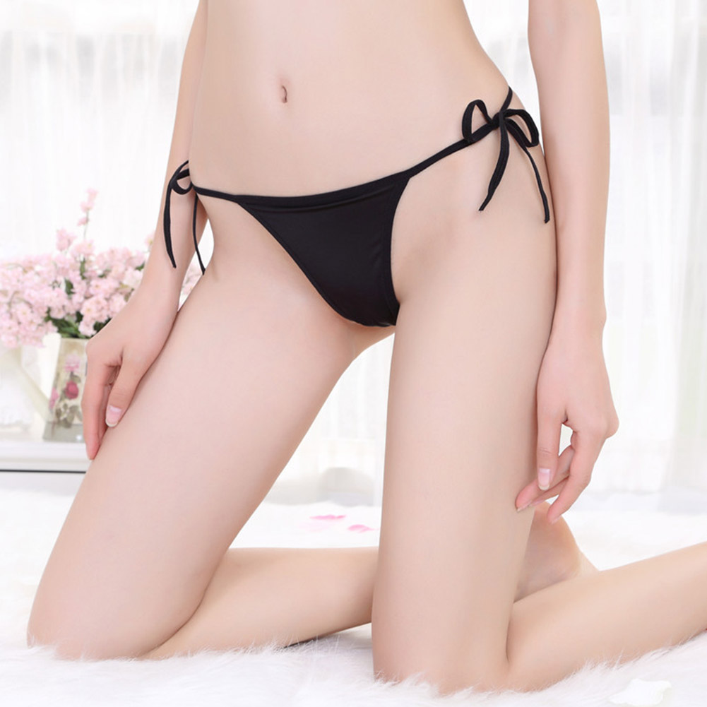 Woman Sexy Underwear Lace-up Underwear Elastic T-back Lady Sexy Underpants black_Free size