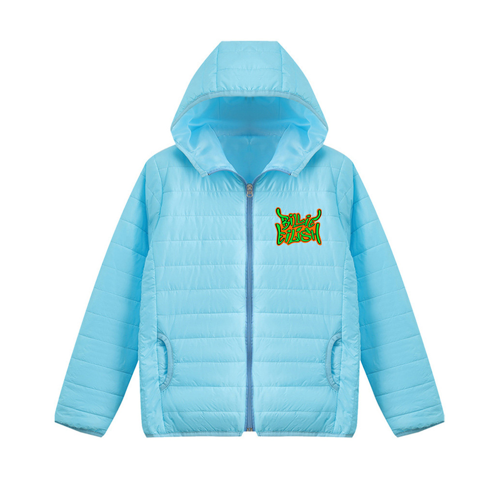 Thicken Short Padded Down Jackets Hoodie Cardigan Top Zippered Cardigan for Man and Woman Blue C_M