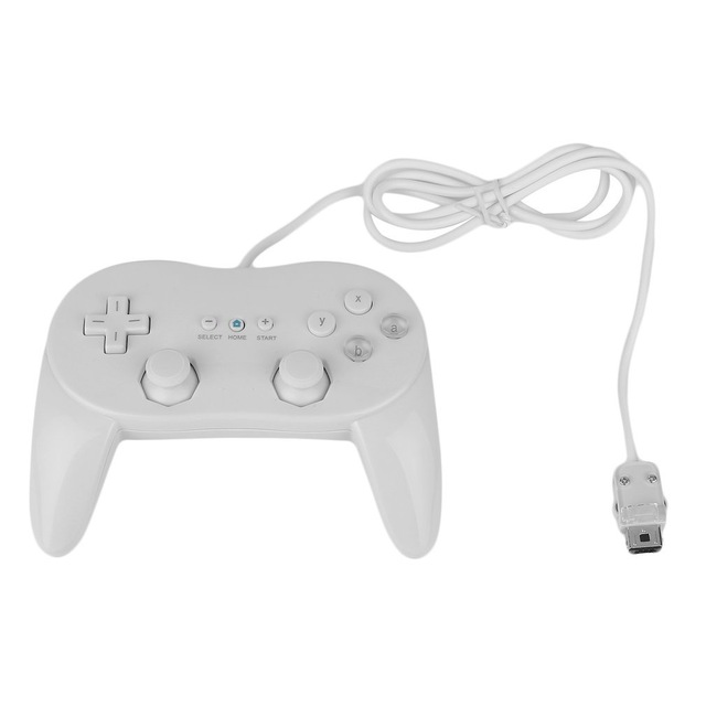 Horn Joystick Gamepads Wired Game Controller Gaming Remote Pro Gamepad Shock Joypad For Nintendo Wii Second-generation white