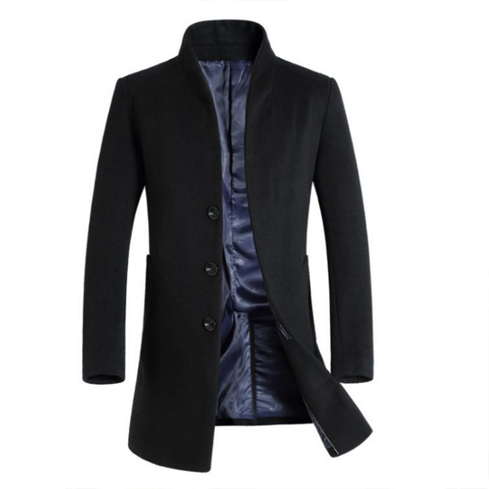 Fashion Winter Men's Trench Coat Warm Long Jacket Single Breasted Overcoat black_XL