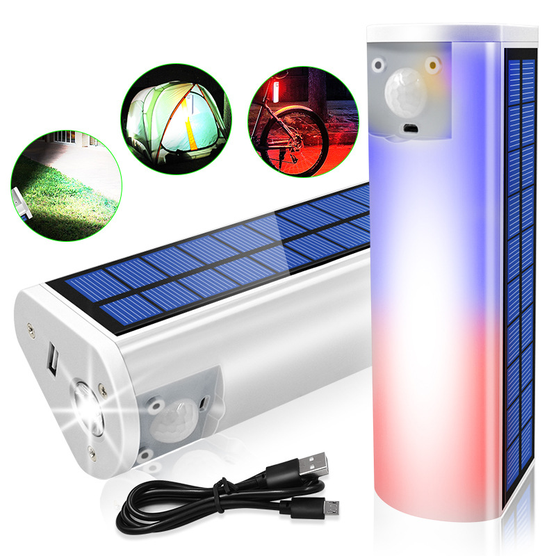 Rechargeable LED Waterproof Solar Flashlight Phone Charger Multifunction Travel Camping Light 020C flashlight charging treasure white case