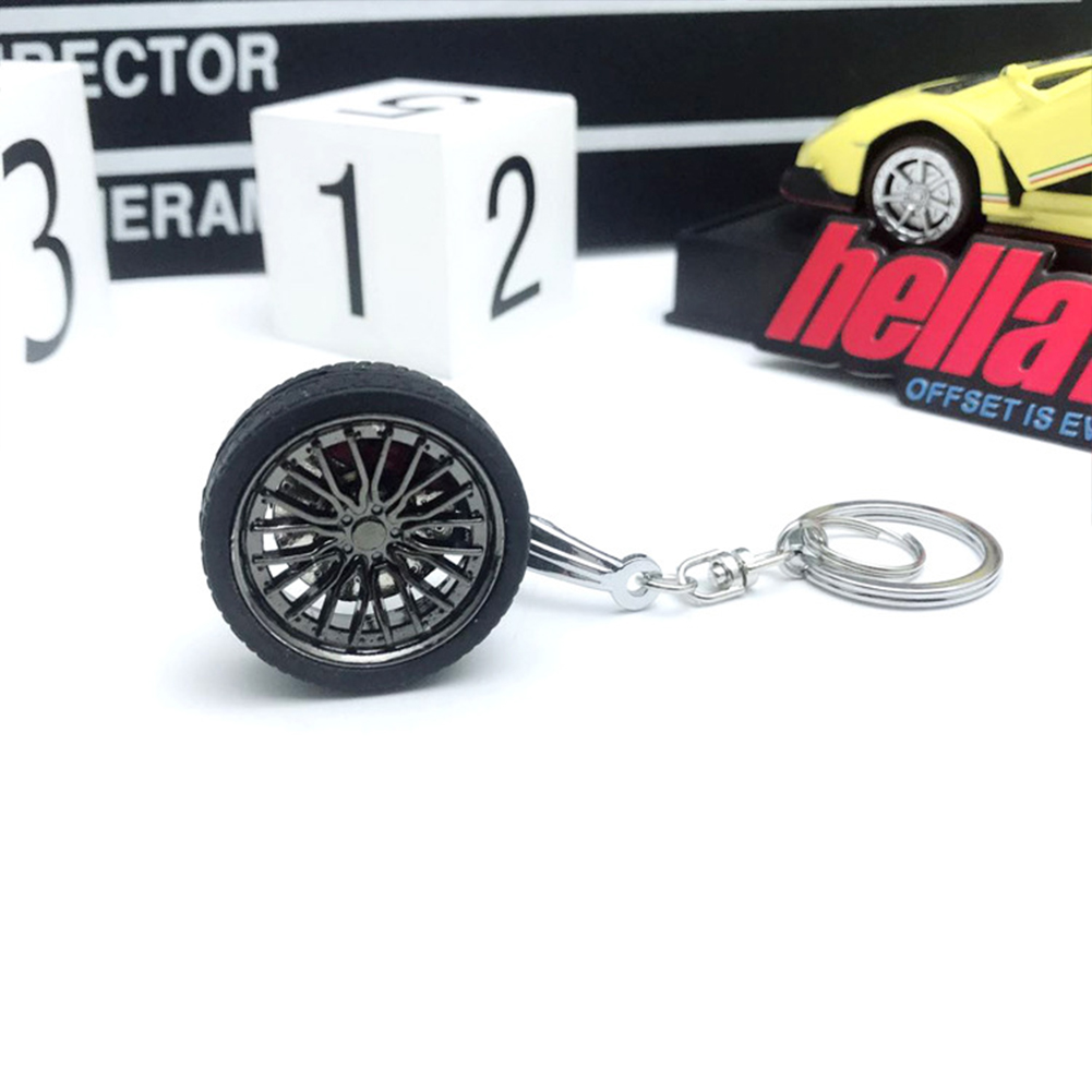 Wheel Rims BBS Tire Wheel Metal Keychain Car Wheel Keychain Key Ring black_10cm*3.5cm