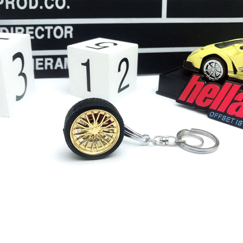 Wheel Rims BBS Tire Wheel Metal Keychain Car Wheel Keychain Key Ring gold_10cm*3.5cm