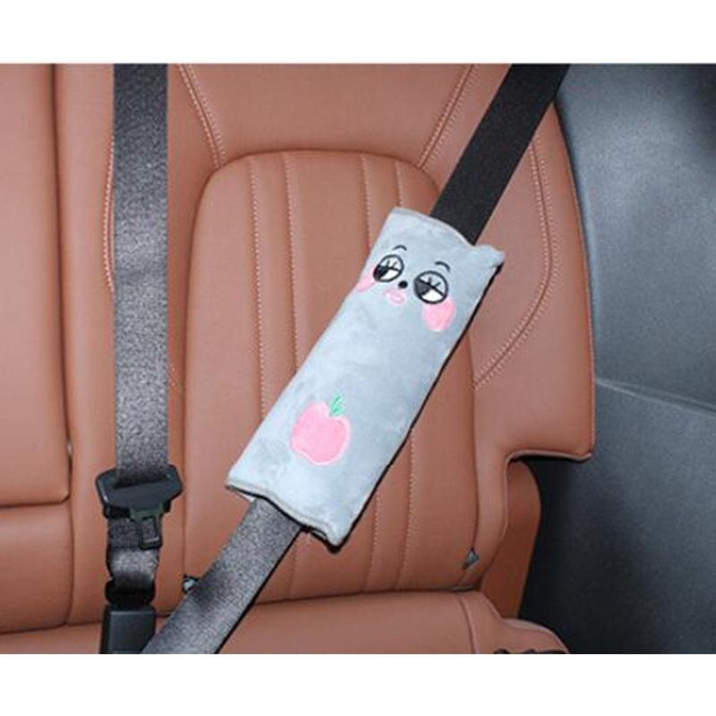 Car Headrest Seatbelt Cushion Neck Pillow Auto Elevator Mat Shoulder Pad Pillow Vehicle Seatbelt Strap Harness Head Pad Cover gray