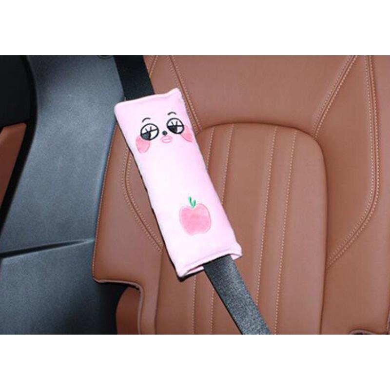 Car Headrest Seatbelt Cushion Neck Pillow Auto Elevator Mat Shoulder Pad Pillow Vehicle Seatbelt Strap Harness Head Pad Cover pink