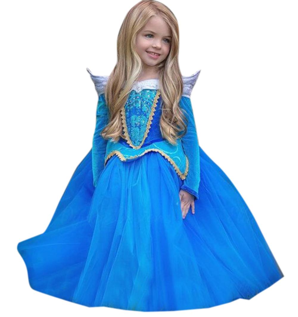 Girls Halloween Christmas Princess Dress Cosplay Dress Performance Clothes Set Light blue_120cm