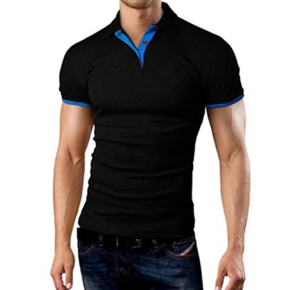 Men Classic Slim Shirt Short Sleeve Hit Color Casual Simple Tops  black_L