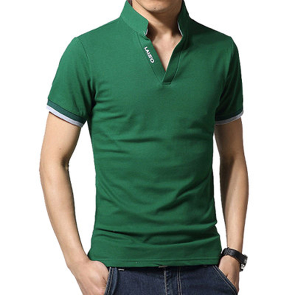 Men Casual Solid Color Cuff Stripe Pattern Standing Collar Shirt green_2XL
