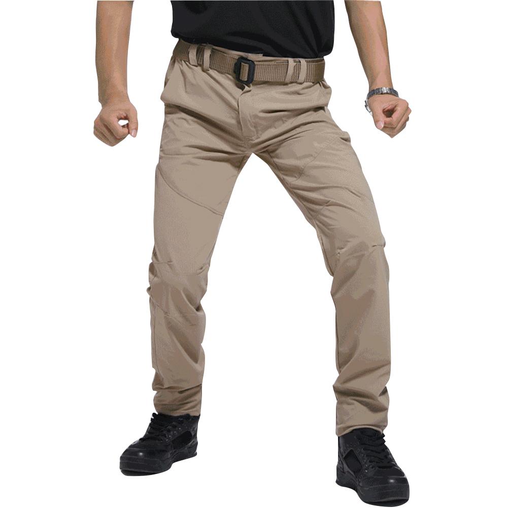 Men Thin Wear Resistant Cargo Pants with Pockets Khaki_L